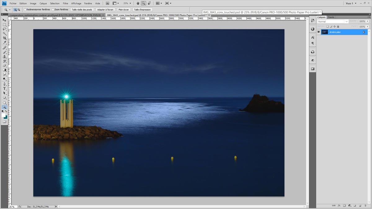 Test d'épreuvage dans Photoshop avec le profil ICC Canon imagePROGRAF PRO-1000 + Papier Pro Luster