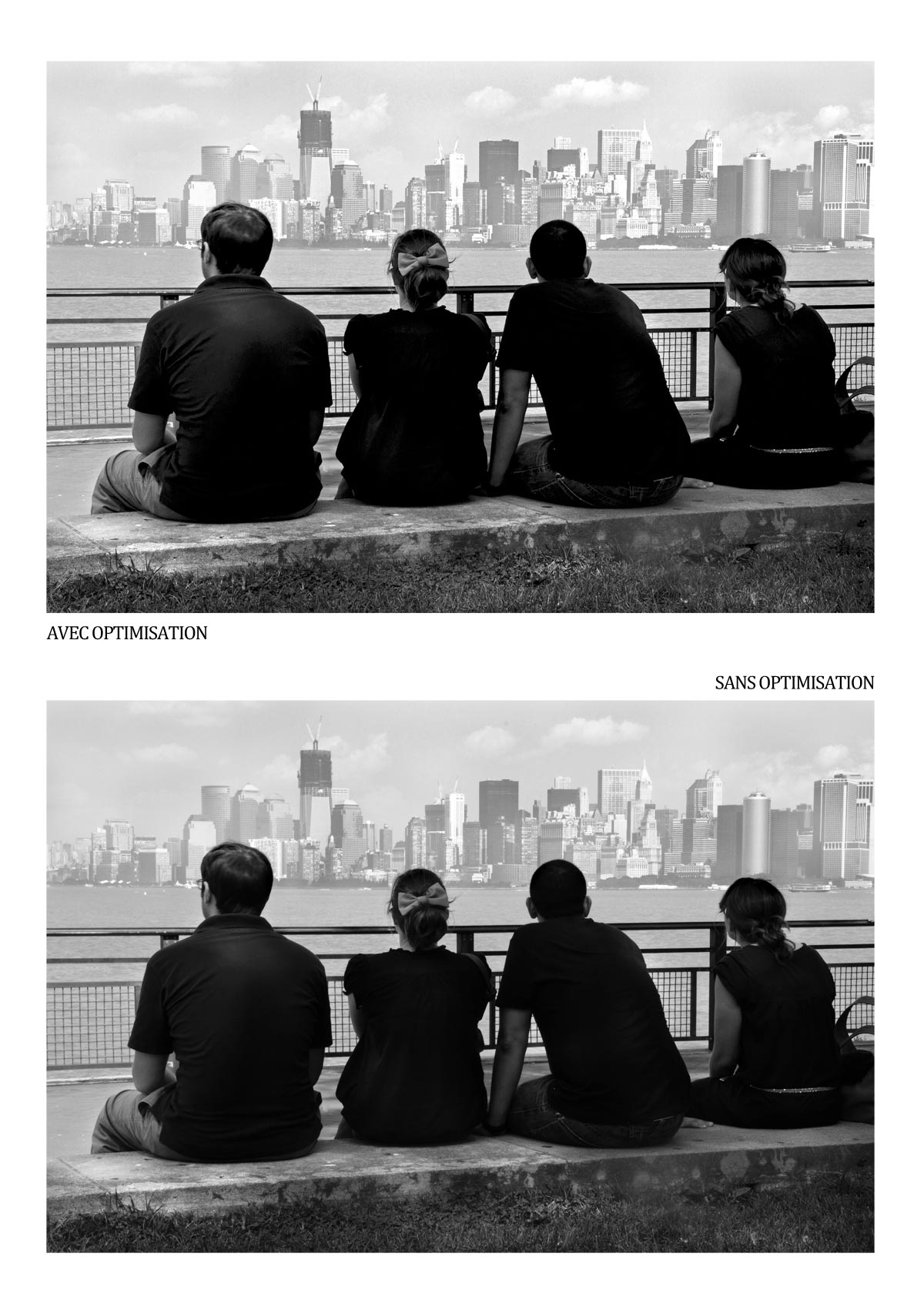 Comparaison de deux images (une optimisée selon épreuvage et l'autre non) / NYC view