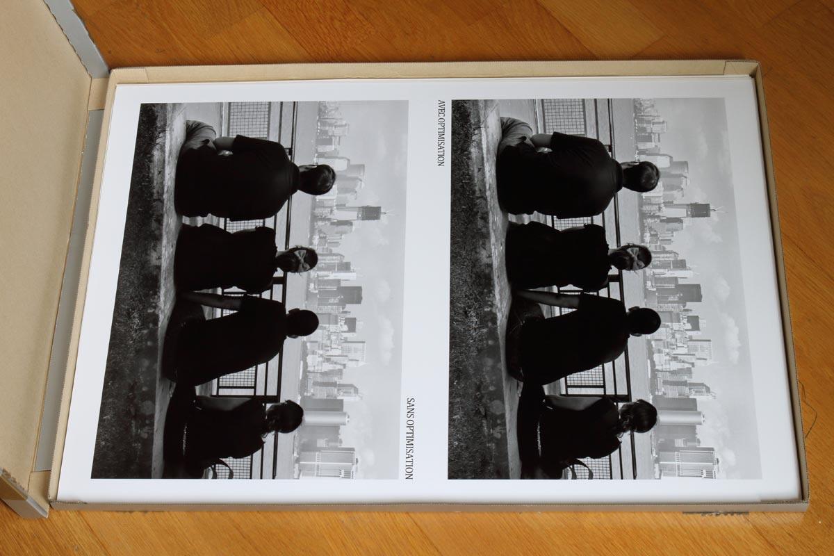 Comparaison de deux images (une optimisée selon épreuvage et l'autre non) après impression sur la Canon imagePROGRAF PRO-1000 / NYC view