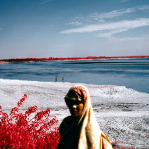 Edward Thompson, Alluvium deposits on a river floodplain where the camp stood from After the Flood, After the Red River Valley, 2012. India. 120mm CIR Photograph. © Edward Thompson/Schilt Publishing & Gallery