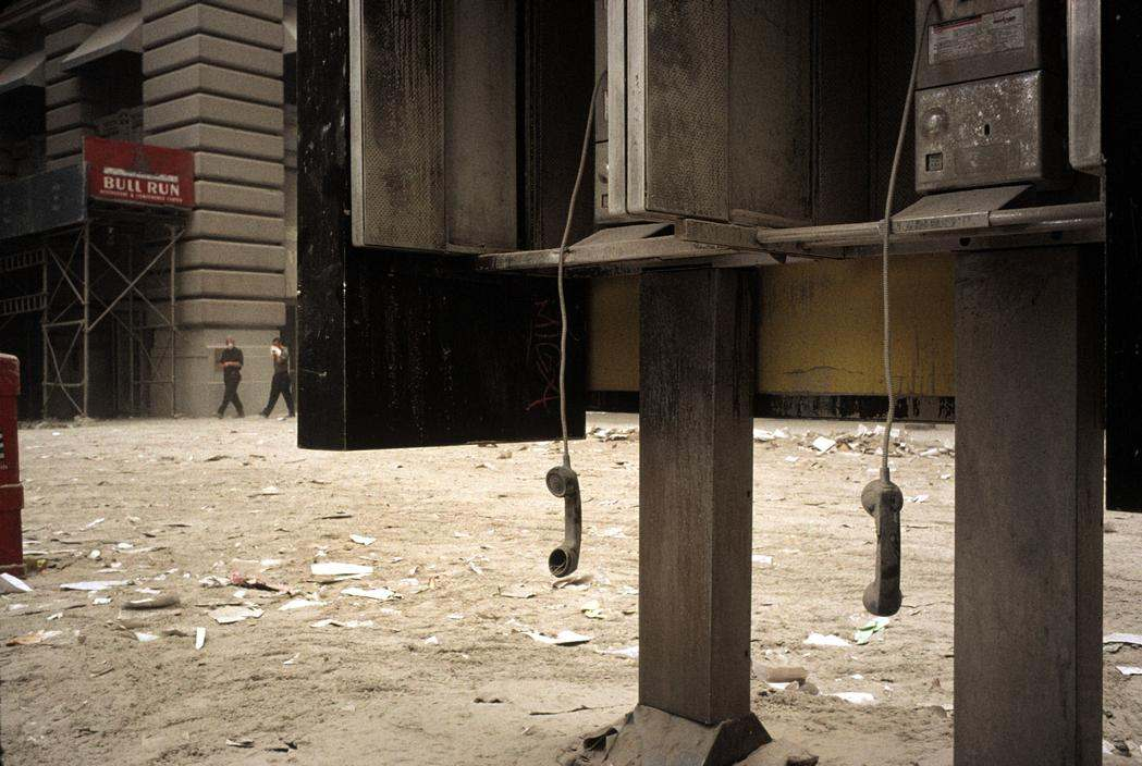 USA. New York City. September 11, 2001. Abandoned telephones in the Financial District. – photo by Alex Webb
