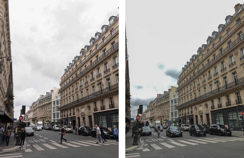 RAW DNG à gauche, JPEG à droite
