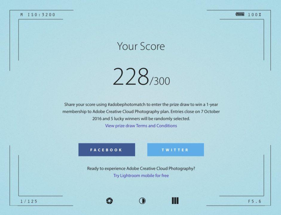 Score Adobe Match
