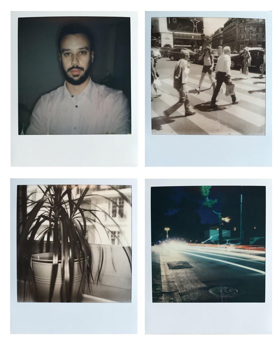 Exemples de photos réalisées avec l'I-1 : en haut à gauche, portrait couleur au flash, en haut à droite, photo de rue en noir et blanc. En bas à gauche, photo macro en noir et blanc. En bas à droite, photo mode lightpainting en couleur.