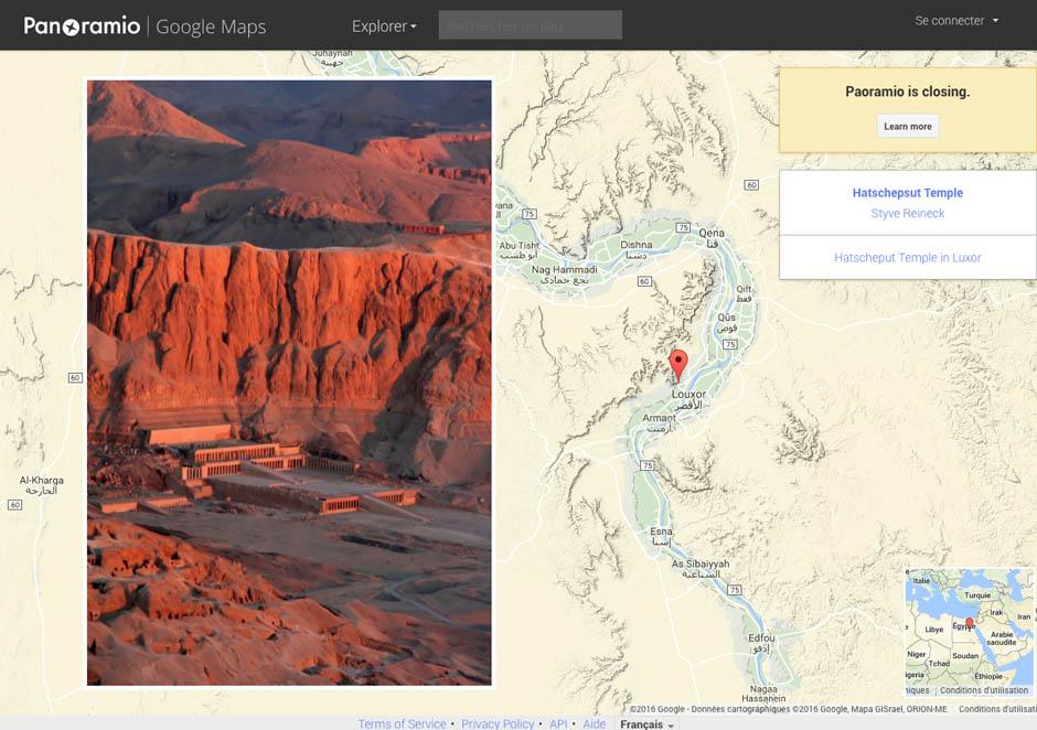 La page d'accueil de Panoramio