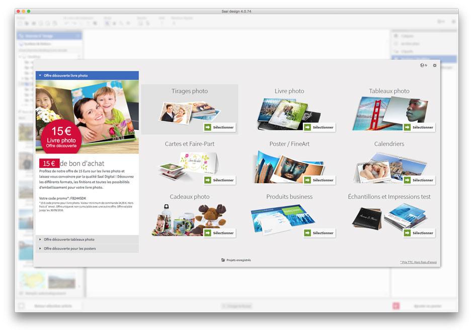 Ecran d'accueil du logiciel Saal Design
