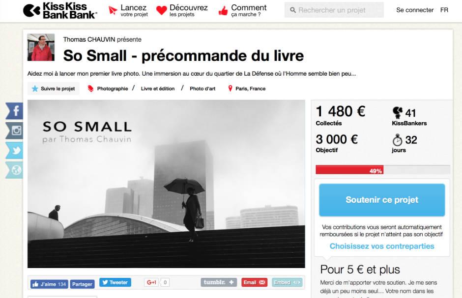 "Page du projet ""So Small"" sur KissKissBankBank"