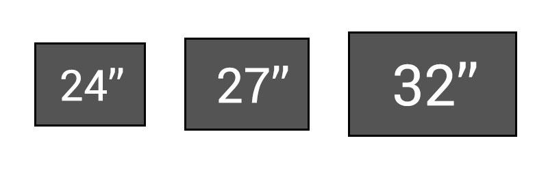Comparatif de tailles d'écran d'ordinateurs