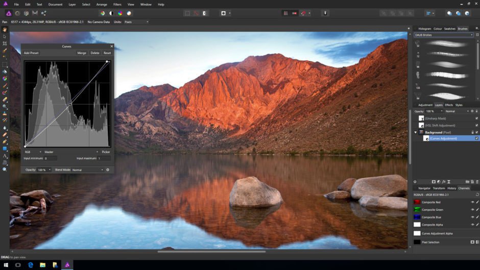 Outil de courbes dans Affinity Photo sur Windows