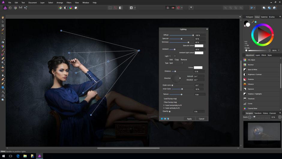 Outil d'ajout d'éclairage dans Affinity Photo sur Windows