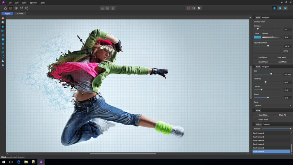 Outil Liquify dans Affinity Photo sur Windows