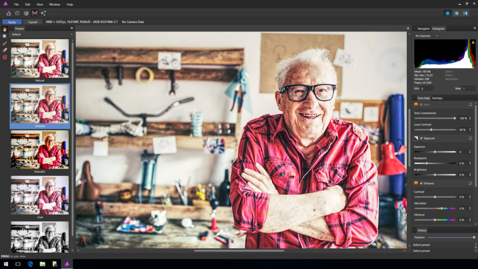 Mappage ton local dans Affinity Photo sur Windows