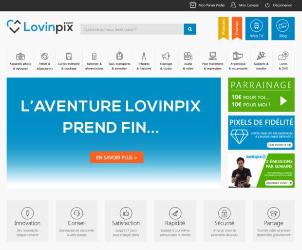 page accueil lovinpix