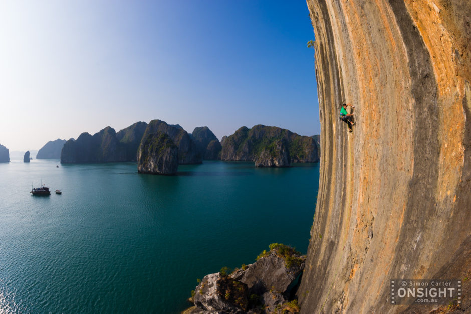 "© Simon Carter - Onsight Photography - ""Lee Cujes making the first ascent of License to Climb Harder (7c), on The Face -- one of 2153 limestone karsts in Ha Long Bay, Vietnam"""