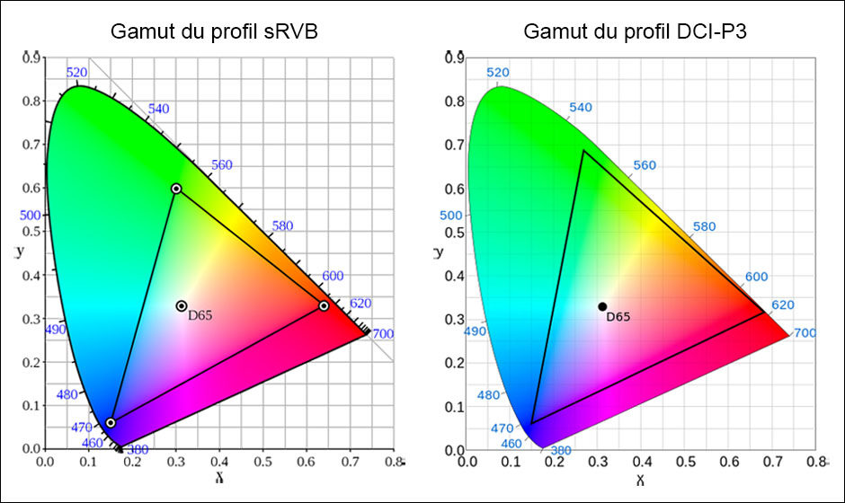 © Wikipédia - Diagramme du sRGB vectorisé par Mysid - Diagramme du DCI-P3 par Sakurambo derivative work: GrandDrake (talk)