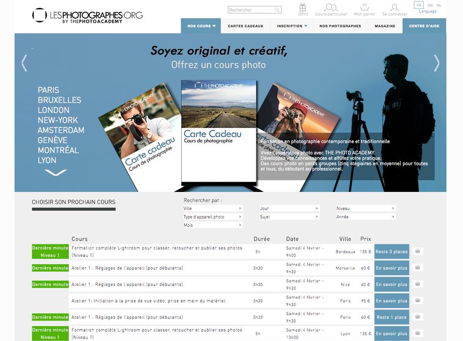 Page d'accueil du site ThePhotoAcademy