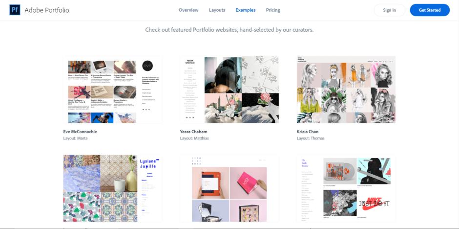 Exemples de portfolios sous Adobe Portfolio