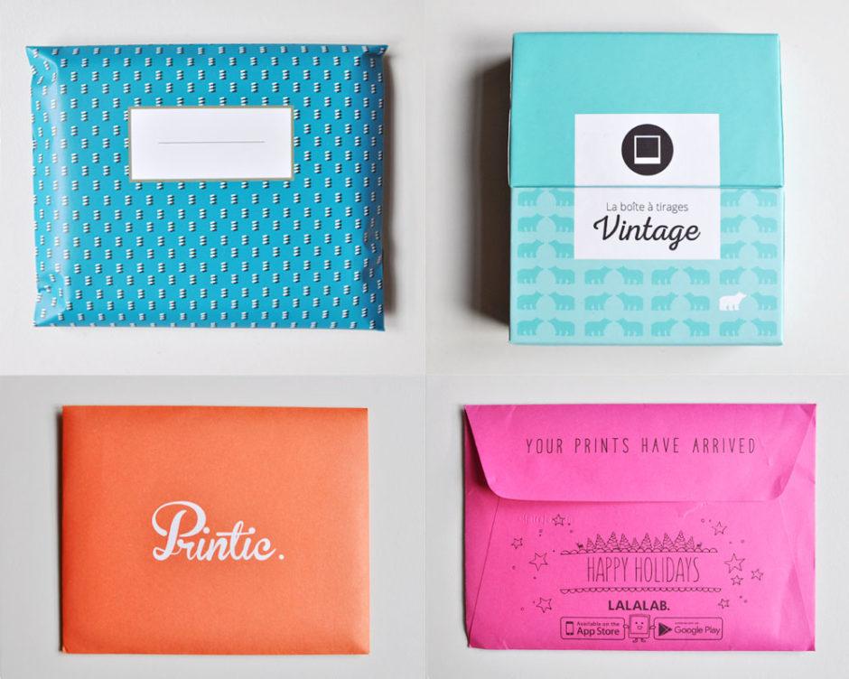 Petit packaging sympa aux enveloppes colorées, et une jolie boîte pour Photoweb - De gauche à droite et de haut en bas : Cheerz, Photoweb, Printic, Lalalab