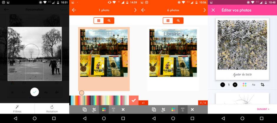 De gauche à droite : recadrage d'une photos sur Cheerz ; choix du couleur de la bordure sur Printic ; possibilité d'ajouter du texte sur la photo et de changer sa couleur sur Printic ; interafce de l'édition photo sur Lalalab
