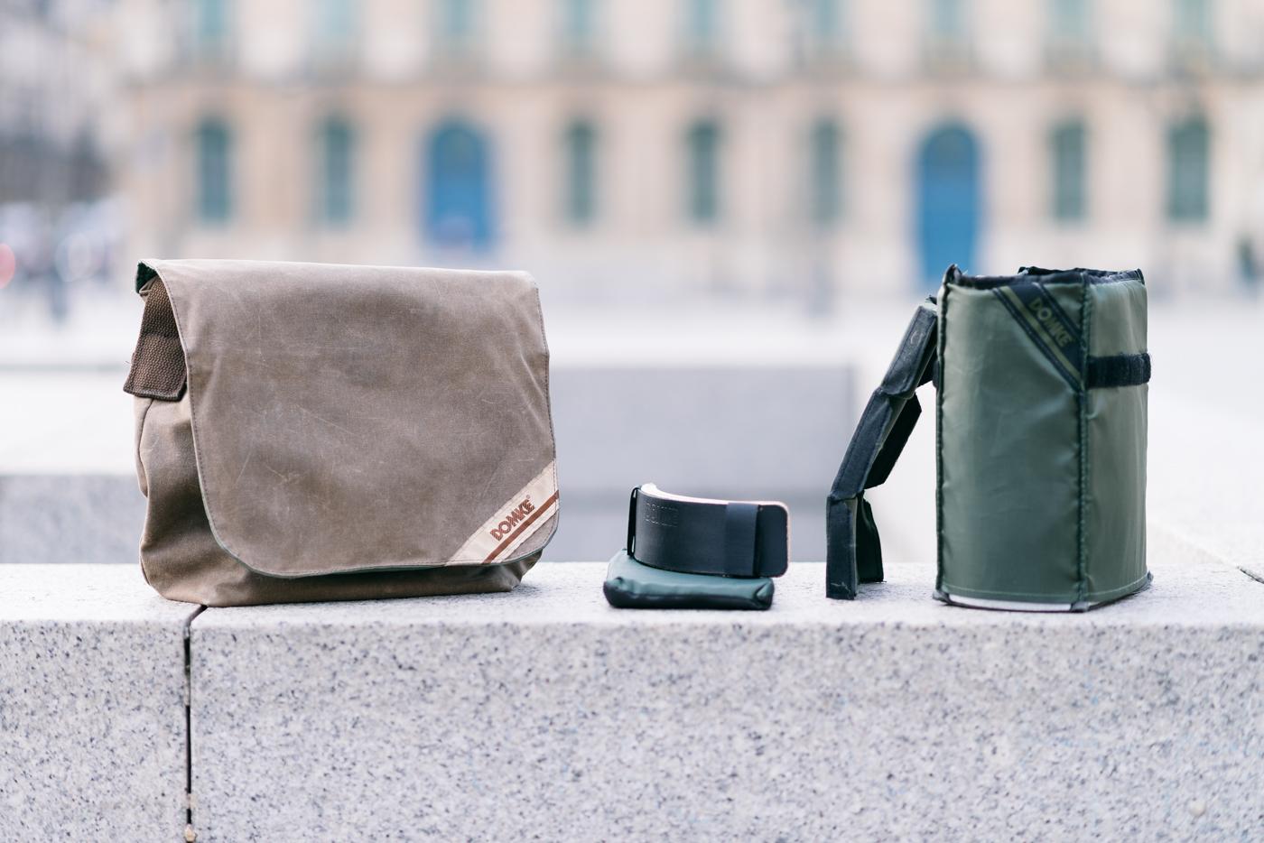 Le sac, le renfort de fond, l'insert ainsi que son séparateur et le renfort d'épaule (optionnel)