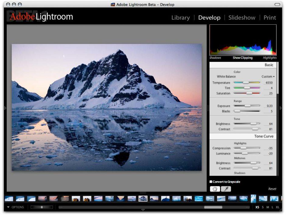Une capture d'écran de la première beta de Lightroom 1.0