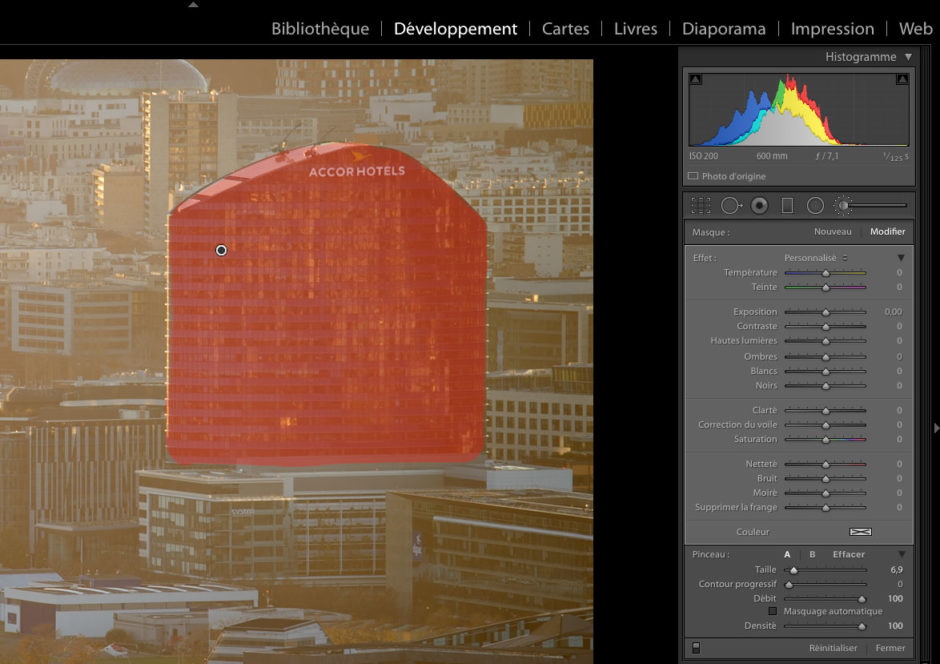 Depuis la version 6, Lightroom peut utiliser un pinceau pour des retouches localisées