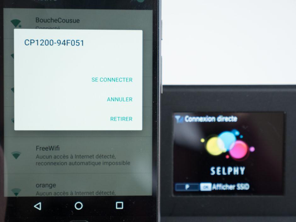Connexion directe de votre smartphone à l'imprimante en tant que point d'accès en se connectant au réseau Wifi de la Selphy CP1200