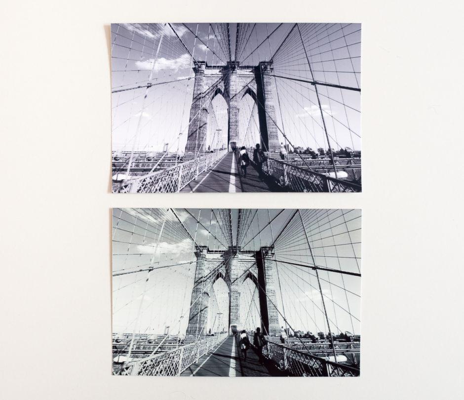 En haut, la photo imprimée par la Canon Selphy CP1200 est bien plus proche du noir et blanc original, comparée à la photo de la Kodak Dock qui tire sur le vert.
