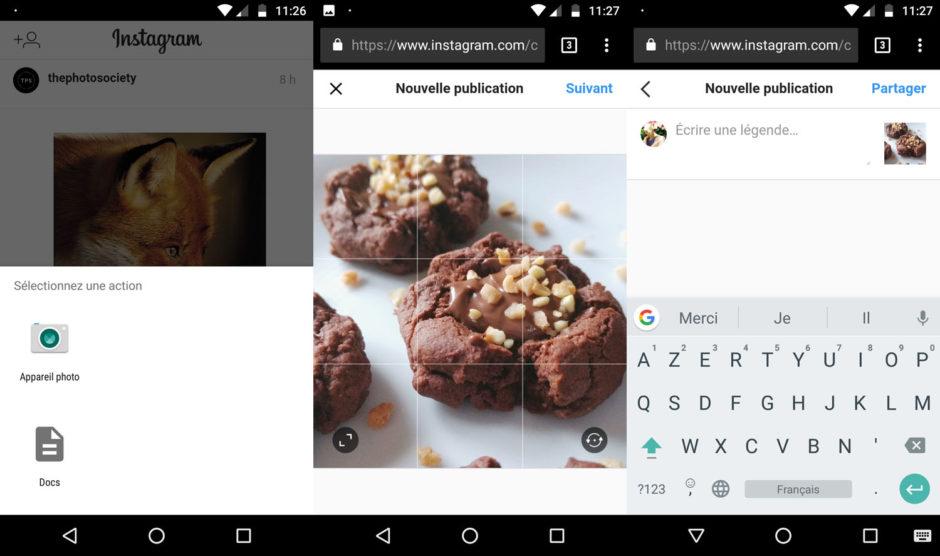 Le système de publication via le navigateur web est une version allégée : impossible d'ajouter des filtres ou de modifier votre photo avant de la partager sur Instagram