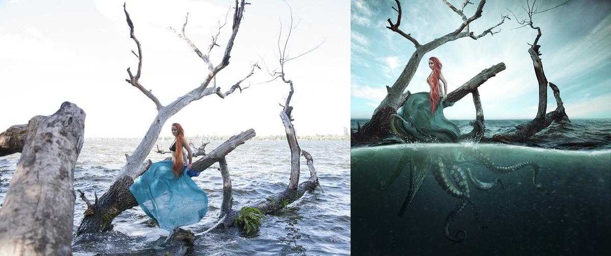 """© Anya Anti - Exemple de post-production sur son image """"Octopus"""" - Elle poste de nombreux exemples de ses retouches dans la catégorie """"Edit"""" de son site."""