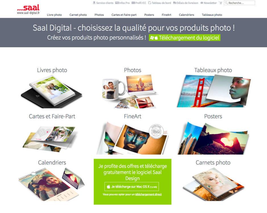 Page d'accueil du site Saal Digital