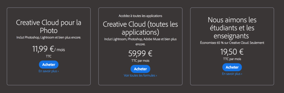 lightroom gratuit ou payant