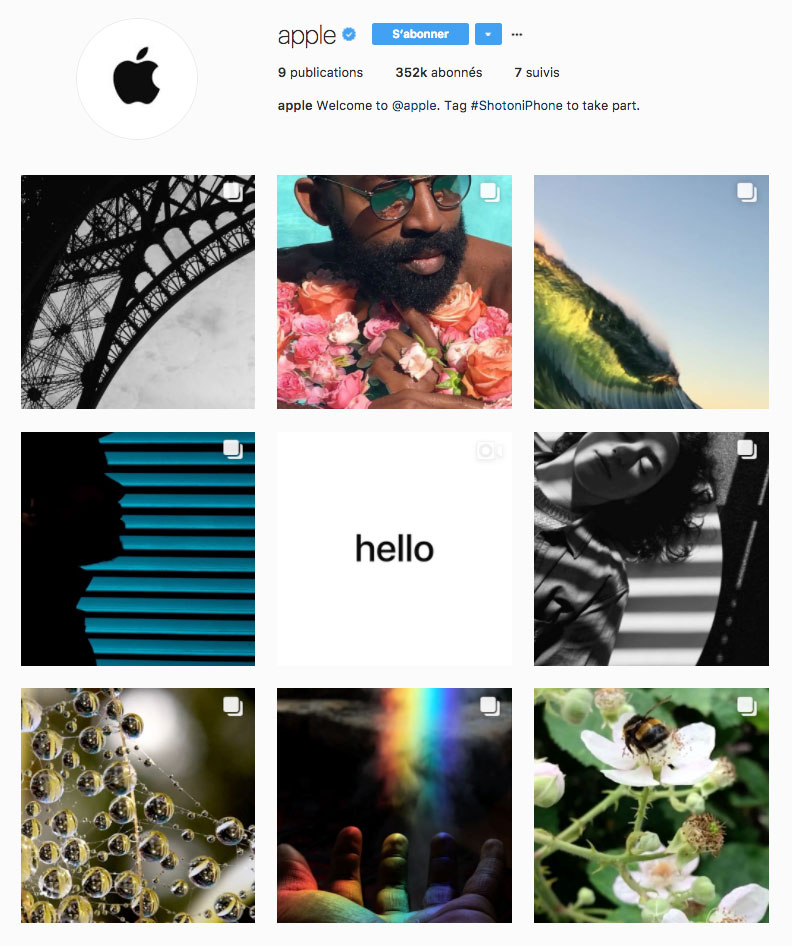 Apple lance son compte Instagram officiel