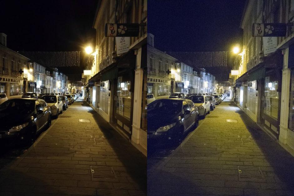 A gauche le fichier JPG pris en mode professionnel - A droite la même image enregistrée en fichier RAW en mode professionnel