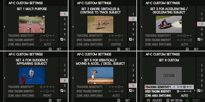 Personnalisation du mode autofocus continu AF-C du Fuji X-T2