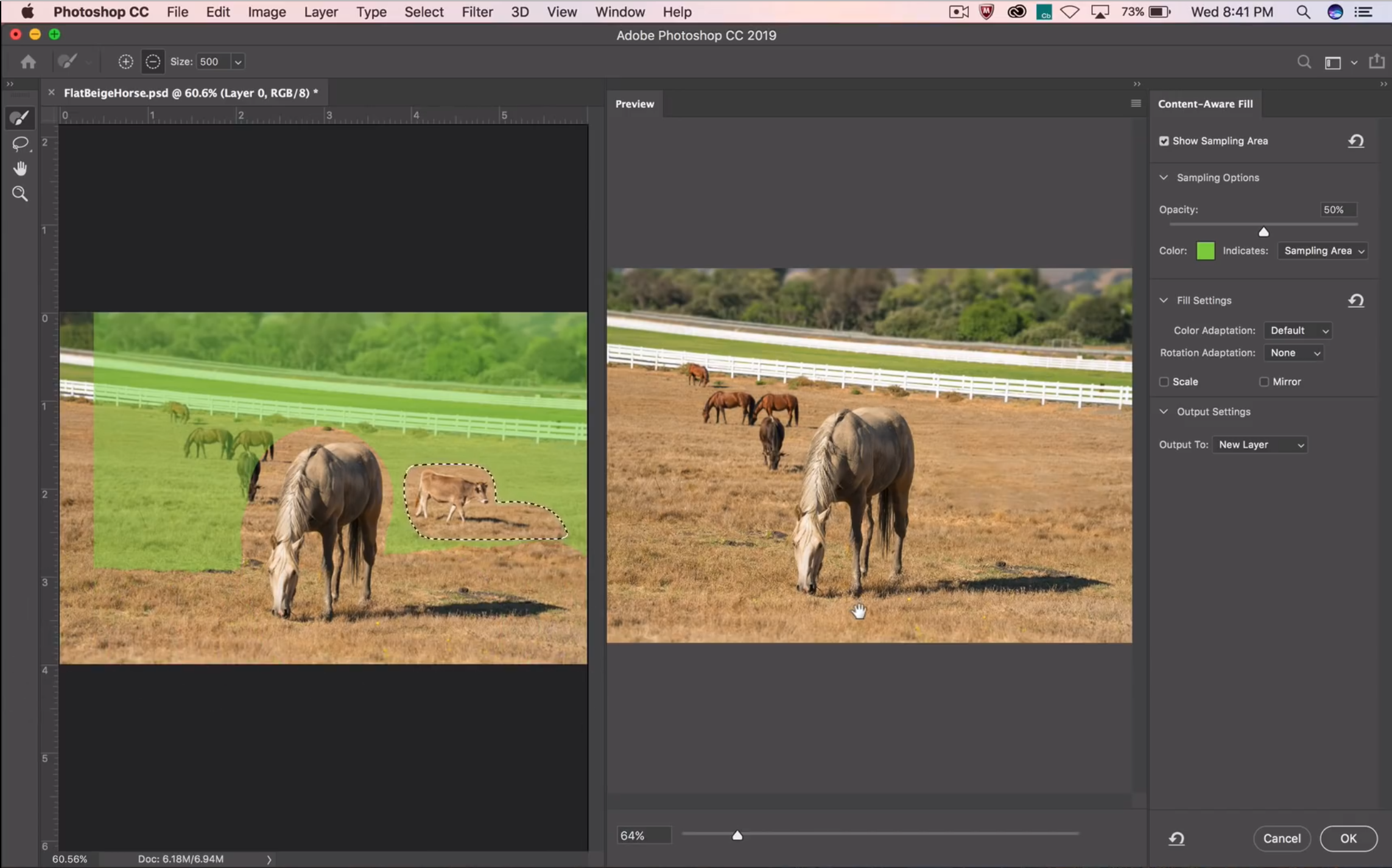 Remplissage intelligent en fonction du contenu dans Photoshop CC