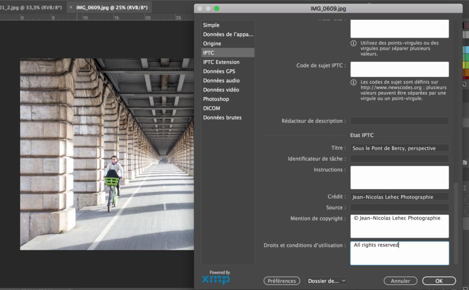 Fenêtre édition données IPTC Photoshop