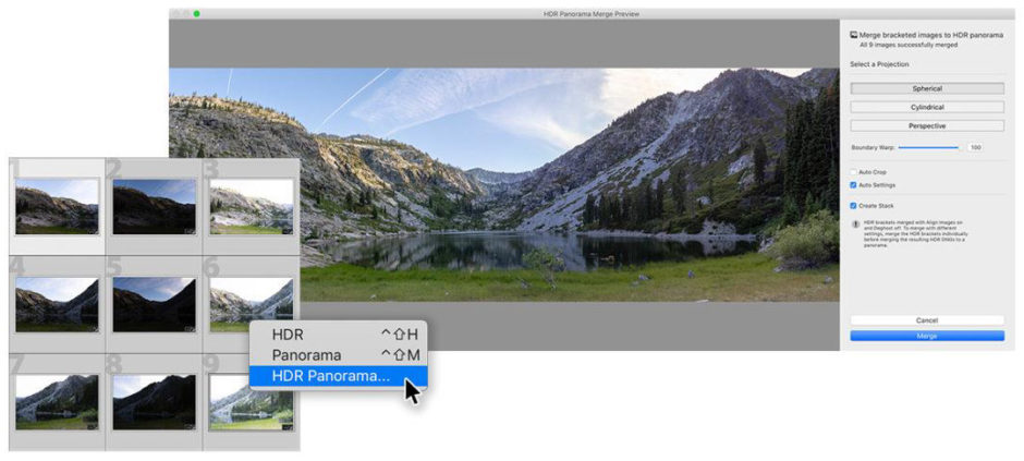 Mode Panorama HDR dans Lightroom Classic CC