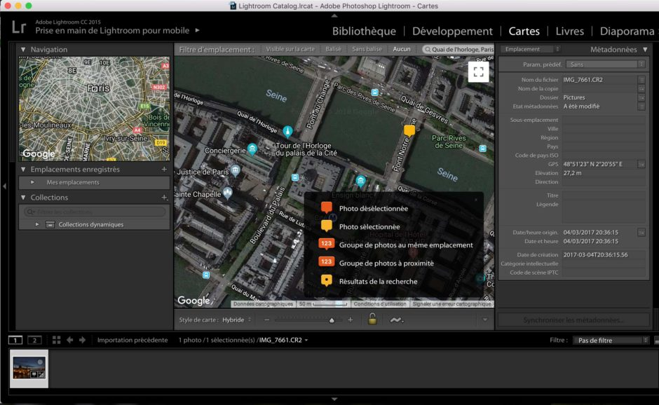 Lightroom Module Cartes