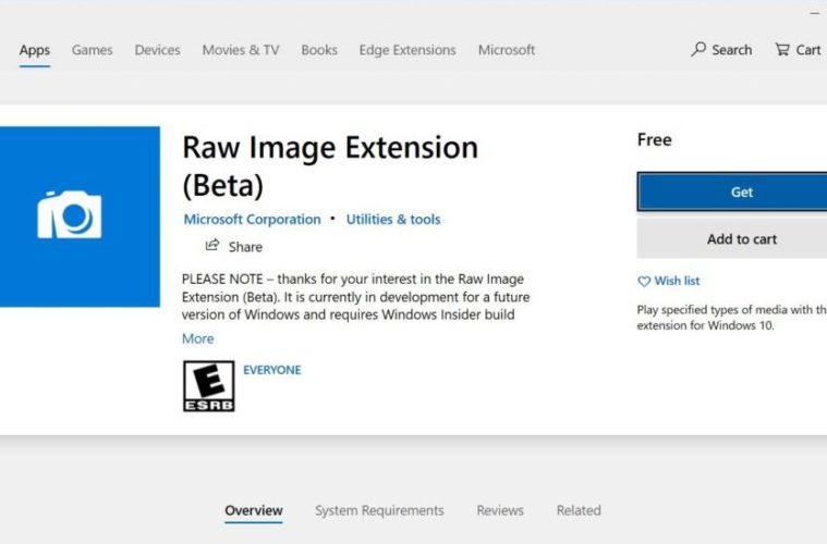 Windows 10 Insider RAW Image Extension
