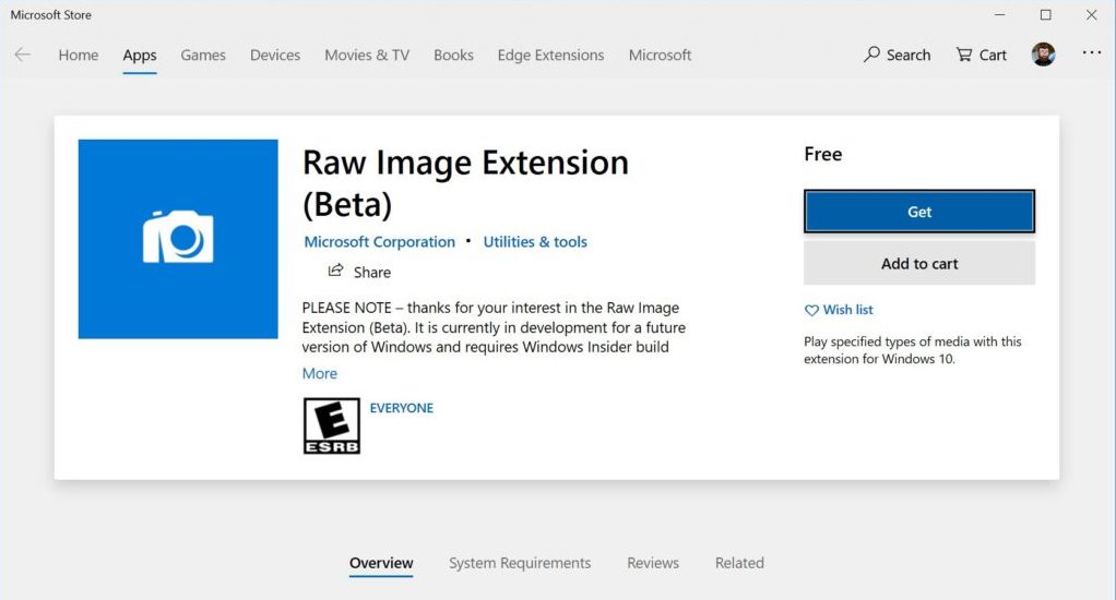 Windows 10 Insider RAW Image Extension