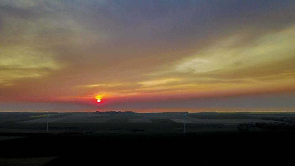 Drone coucher de soleil Normandie