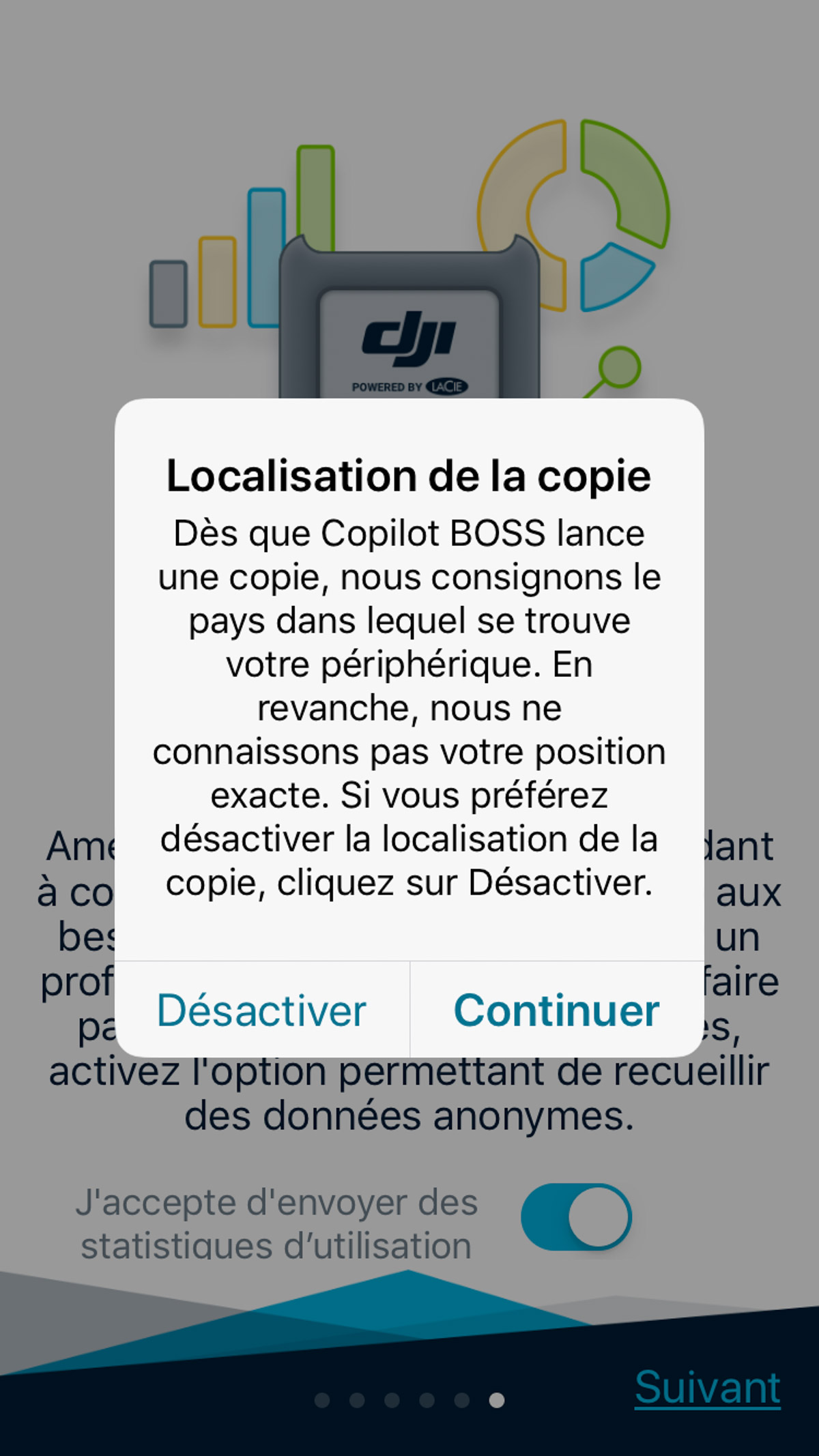 L'application peut géolocaliser la copie de sauvegarde