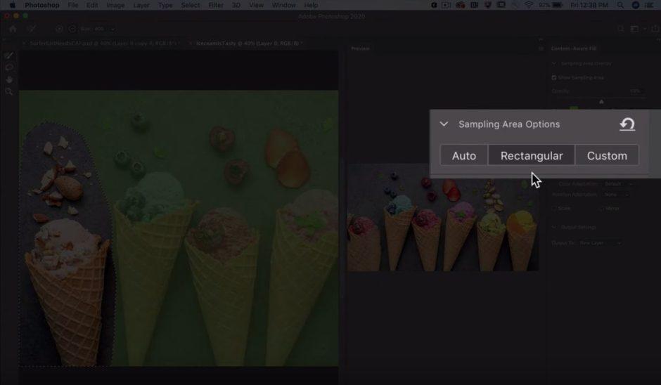Photoshop remplissage d'après le contenu nouvelles options