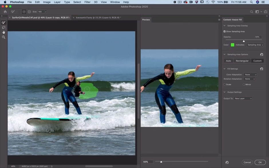 Photoshop Remplissage d'après le contenu