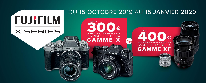 ODR Fujifilm hiver 2019 : jusqu'à 400 € remboursés sur optiques XF et boîtiers Fujifilm X