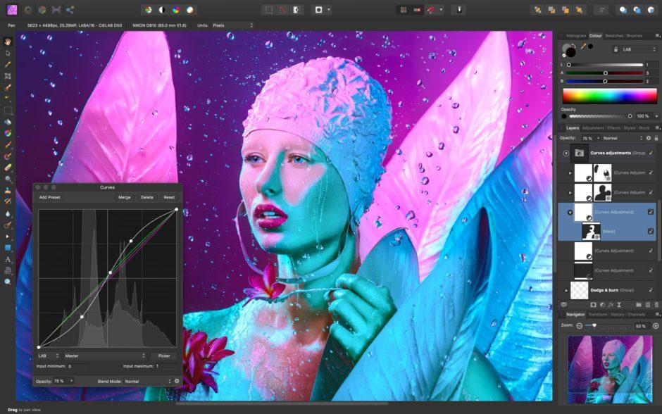Affinity Photo interface desktop