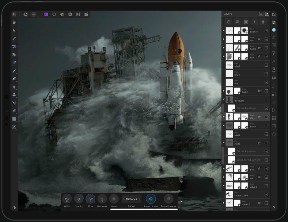 Affinity Photo interface iPad