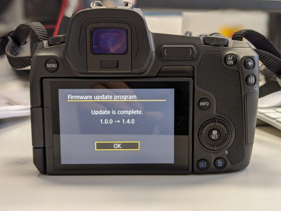 Canon EOS R Mise à jour fimware