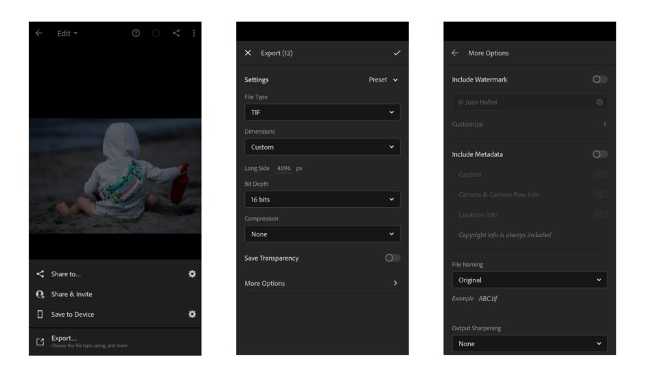 Lightroom iOS Android options d'exportation